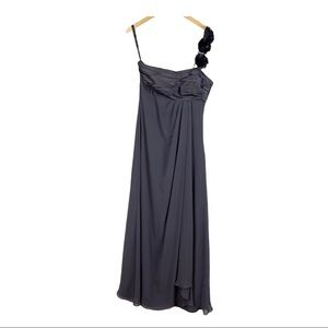 Levkoff gray chiffon one shoulder formal dress